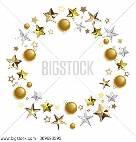 Vector Round Concept With Golden Decorations Isolated On White Background