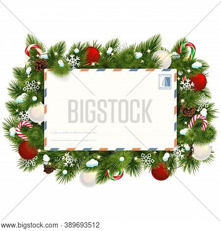 Vector Snowy Christmas Fir Branches With Postcard Isolated On White Background