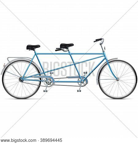 Vector Bicycle Tandem Isolated On White Background