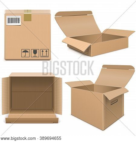 Vector Empty Carton Boxes Isolated On White Background