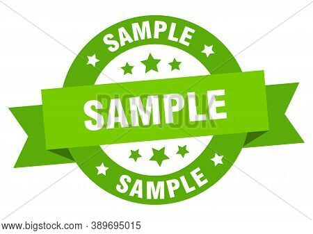 Sample Ribbon. Sample Round Green Sign. Sticker