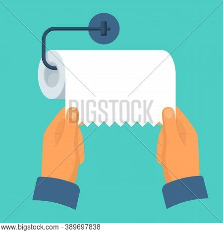 Paper Towel Dispenser. Man Takes Paper Towel. Vector Illustration Cartoon Style. Isolated On Backgro