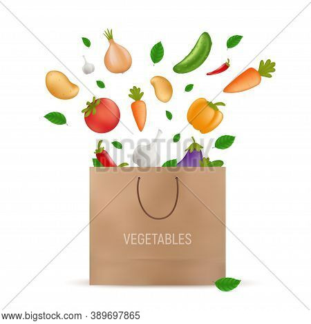 Shopping Paper Bag With Fresh Vegetables Falling Into It - Potato, Carrot, Cucumber, Onion, Pepper,