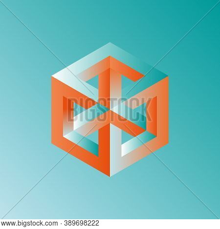 Unreal Optical Illusion Cube Illustration, Isometric Drawing