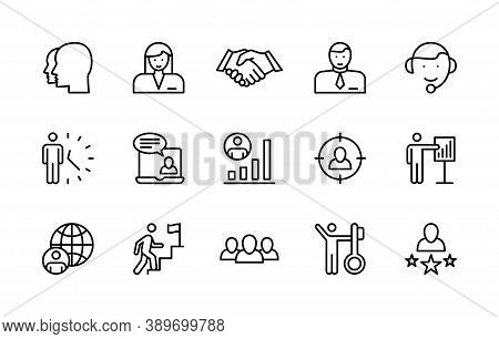 Business Management, Vector Linear Icons Set. Work And Success, Business People, Interaction, Trust