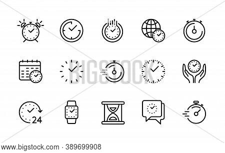 Time Management, Time And Clock, Vector Linear Icons Set. Timer, Speed, Alarm, Recovery, Calendar, H