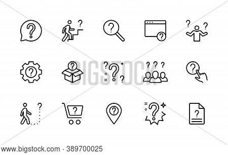 Questions And Problems, Ask And Think, Vector Linear Icons Set. Contains Icons How To Do, Unknown Ro