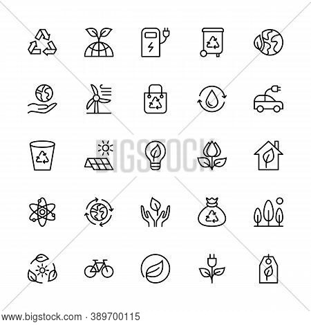Eco Friendly And Alternative Energy Sources In Minimal Style, Vector Linear Icons. Linear Symbols Of