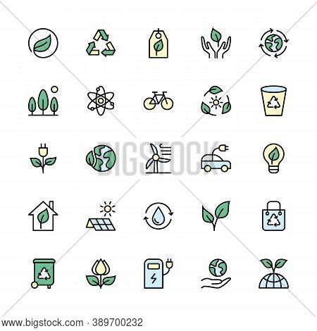 Environmental Sustainability And Energy Sources In Minimal Style. Color Symbols Of Ecology. Simple S