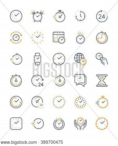 Time And Clock, Vector Color Linear Icons Set. Timer, Speed, Alarm, Management, Calendar, Watch Symb