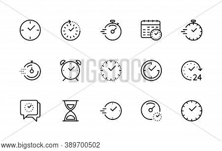 Time And Clock, Vector Linear Icons Set. Timer, Speed, Alarm, Restore, Management, Calendar, Watch S
