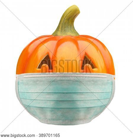Jack O Lantern Halloween pumpkin with anti virus mask pandemic problem
