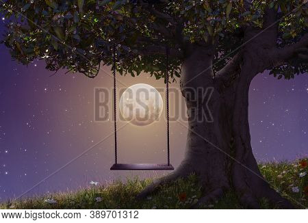 Fantasy Hammock In A Tree At Night With A Huge Full Moon Lighting Up The Scene. 3 D Rendering