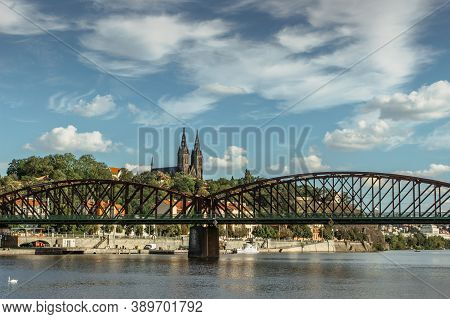 Postcard View Of Famous Vysehrad Standing On A Rock And Rasin Embankment,prague,czech Republic.river