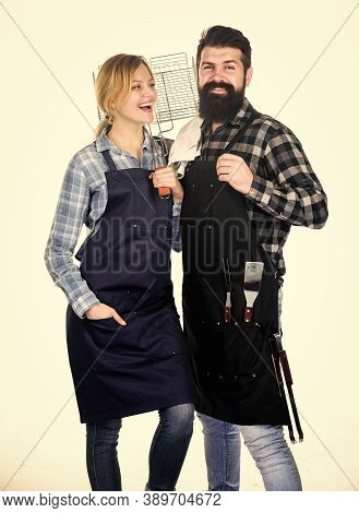 Family Cooking Grilled Food. Cooking Together. Couple In Love Getting Ready For Barbecue. Picnic And