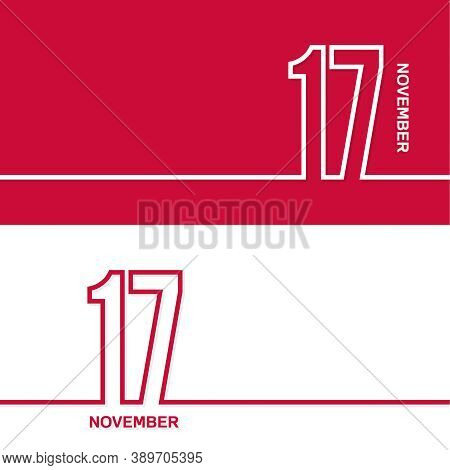 November 17. Set Of Vector Template Banners For Calendar, Event Date.