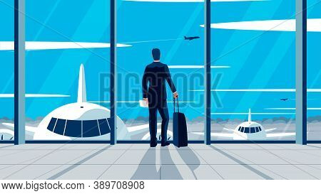 Vector Flat Illlustration Of A Businessman Standing In The Airport. Concept Of A Man Wearing Suit Wi