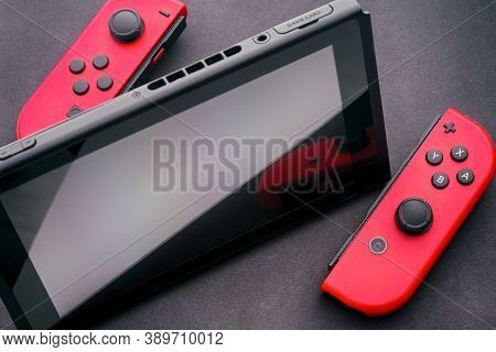 Tambov, Russian Federation - December 27, 2019 Nintendo Switch Video Game Console With Two Joy-cons.