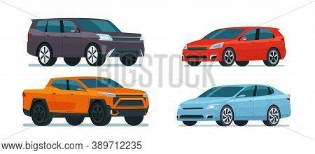 Set Of Modern Cars. Includes Hatchback, Sedan, Pickup And Suv. Vector Flat Illustration.