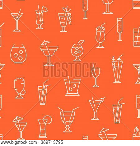 Classic Alcoholic Cocktails Thin Line Concept Seamless Pattern Background Include Of Mojito, Margari