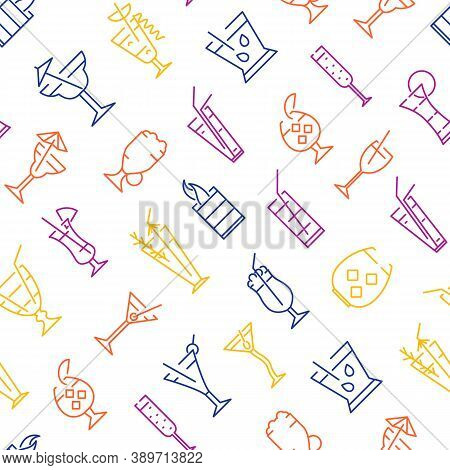 Classic Alcoholic Cocktails Thin Line Concept Seamless Pattern Background On A White Include Of Moji