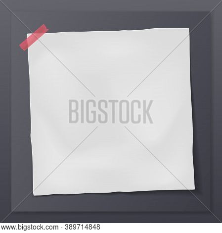 White Note, Notebook Paper Is On Black Frame And Background For Text, Advertising Or Design. Vector