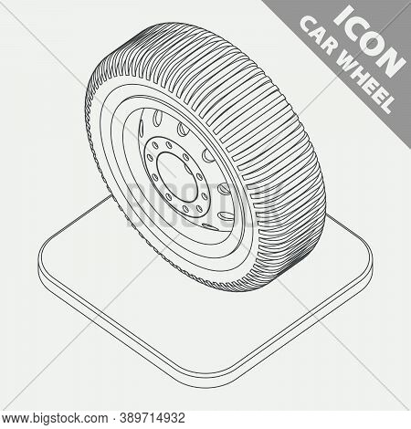 Car Wheel On The Stand. Monochrome Line Isometry 3d Icon. Vector Illustration In Flat Style.