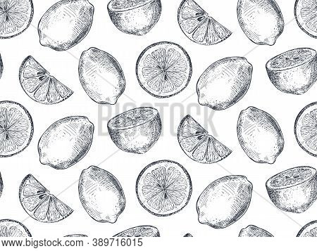 Vector Seamless Pattern With Hand Drawn Fresh Lemon Fruits And Slices In Sketch Style.