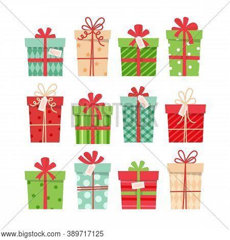 Christmas Presents Set, Different Boxes With Ribbons, Vector Illustration In Flat Style