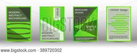 Green Modern Design Template In Trendy Style. Line Pattern. Trendy Illustration. Minimal Concept.