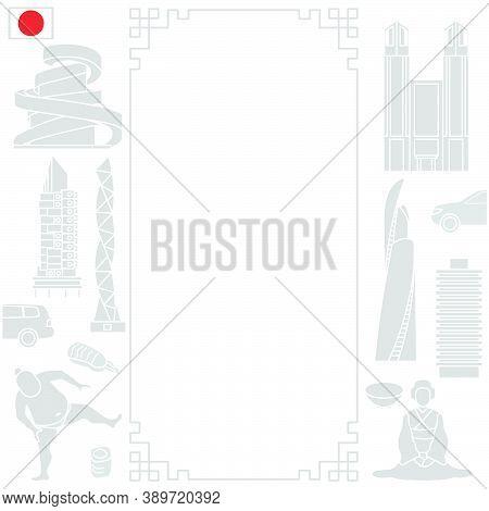 Vector Illustration Symbols Of Japanese Culture Asian Woman In Kimono, Sumo Athlete, Food Rolls, Sus