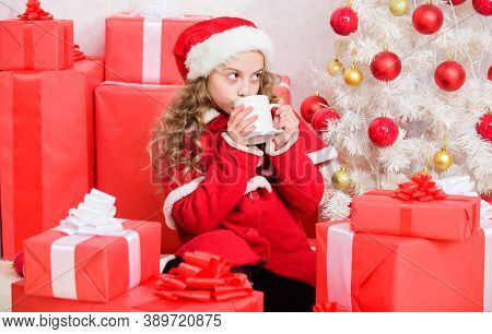 Cocoa Favorite Drink. Kid Santa Hat Enjoy Hot Beverage. Yummy Warm Drinks For Kids. Girl Little Ador