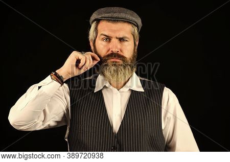 Retro Gentlemen. Mature Handsome Man. Man In Vintage Style Hat. Brutal Bearded Hipster Vest. Old Fas