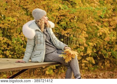 Clothes For Rest. Girl Relaxing In Nature Wearing Knitwear Suit And Jacket. Model Knitwear Clothes L