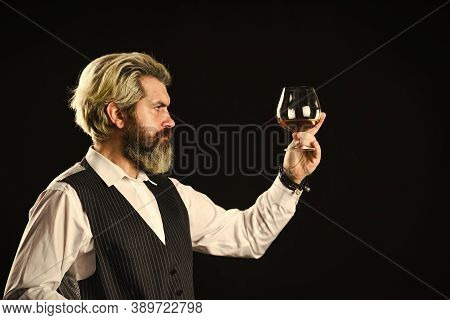 Tasting Sediments. Wine Tasting. Male Skilled Sommelier Estimates Alcoholic Drink. Red Wine In Long-