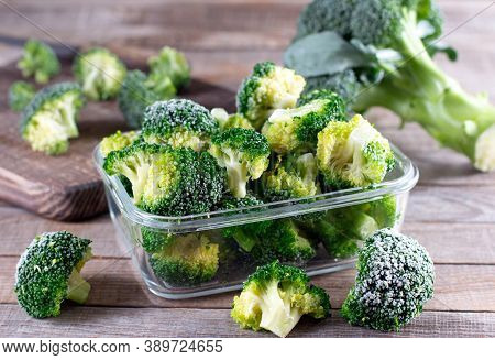 Broccoli In A Glass Container For Long-term Storage. Deep Freezing Of Vegetables.