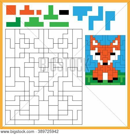 Fox. Color The Image Using Shapes. Coloring Book For Kids. Colorful Puzzle Game For Children With An