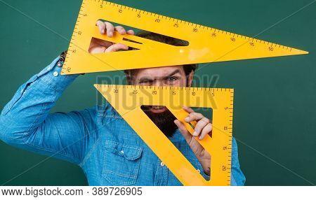 Man With Size Measured On Triangle Ruler Math Tool, School Stem Disciplines