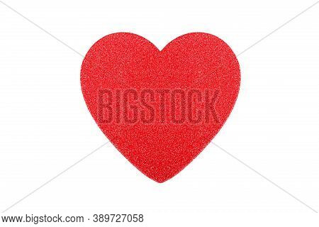 Red Paper Heart With Sparkles Isolated On White Background.
