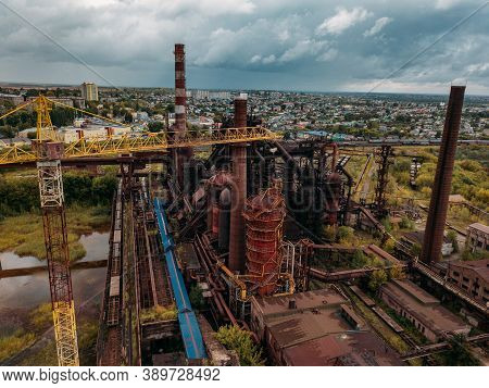 Blast Furnace Equipment Of The Metallurgical Plant, Drone Aerial View
