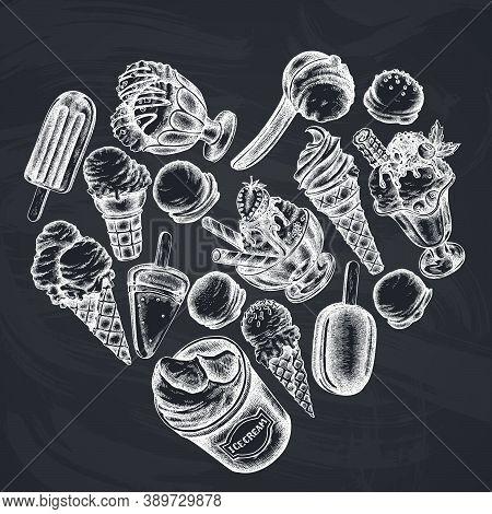 Heart Design With Chalk Ice Cream Bowls, Ice Cream Bucket, Popsicle Ice Cream, Ice Cream Cones Stock