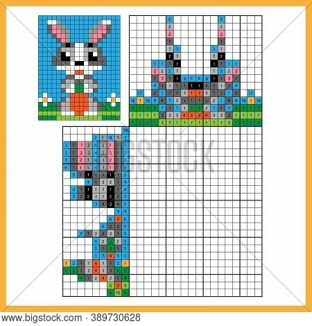 Rabbit Or Hare With Carrot. Colorful Japanese Crossword With Answer. Color By Numbers. Coloring Book