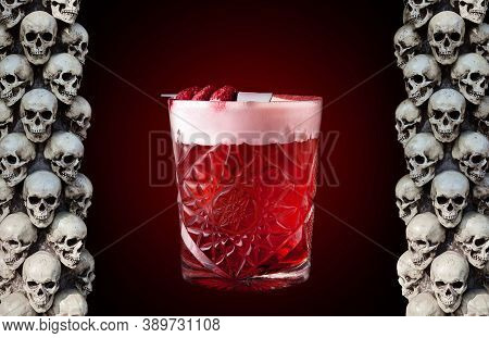 Cocktail, Red Drink With Froth, Design For A Banner In A Pub. Halloween And Day Of The Dead Celebrat