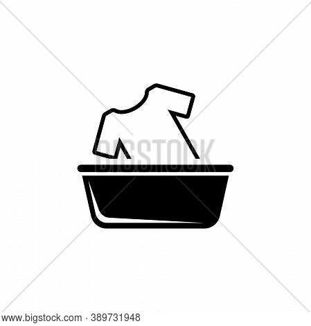 Hand Wash Clothes In Basin, Washing A T-shirt. Flat Vector Icon Illustration. Simple Black Symbol On