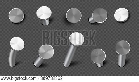 Iron Nails Hammered In Wall, Straight And Bent Steel Spikes With Circle Head. Vector Realistic Set O