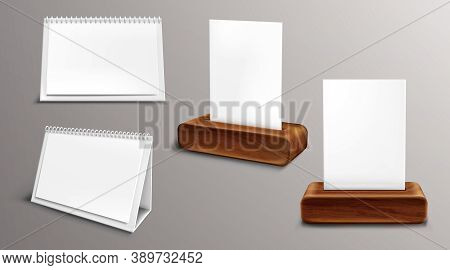 Calendar On Wooden Base Mockup, Loose-leaf Almanac With Blank Pages And Binder. Desktop Paper Calend