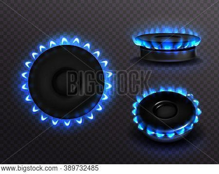 Burning Gas Stove With Blue Flame Top And Side View. Kitchen Burner With Lit Hobs, Propane Butane Fl