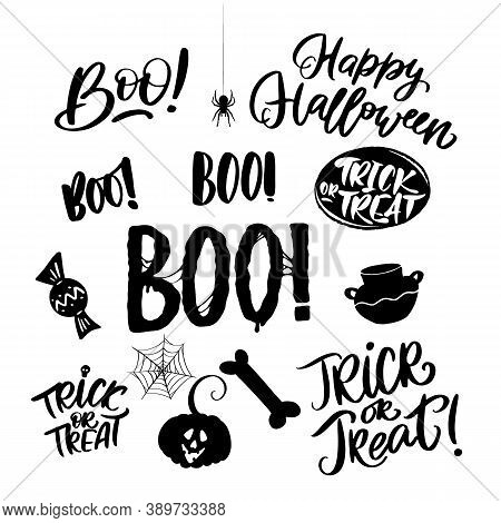 Set Of Happy Halloween Letterings For Flyer, Poster, Greeting Cards. Boo, Trick Or Treat. Vector Ill
