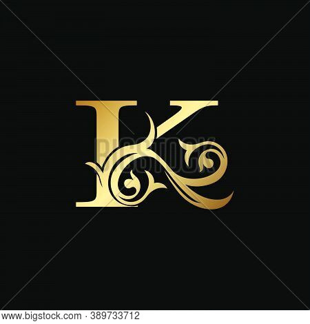Luxury Gold Letter K Floral Leaf Logo Icon,  Classy Vintage Vector Design Concept For Emblem, Weddin