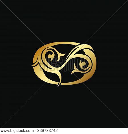 Luxury Gold Letter O Floral Leaf Logo Icon,  Classy Vintage Vector Design Concept For Emblem, Weddin